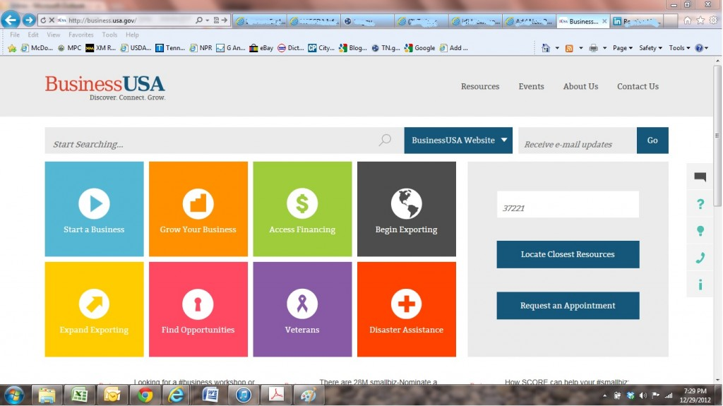 Screenshot for BusinessUSA which can help Cheatham County business community